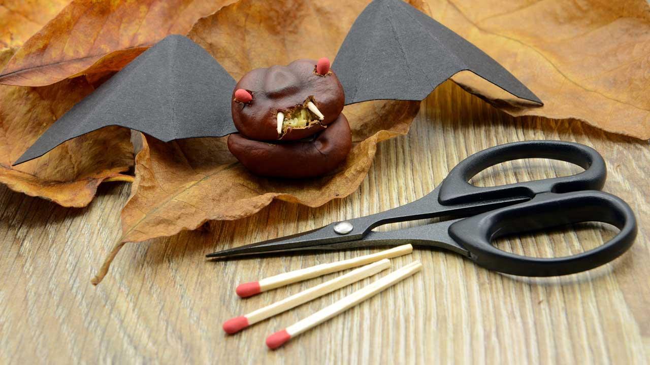 Bastelideen mit Kindern für Halloween - Feldermaus gebastelt
