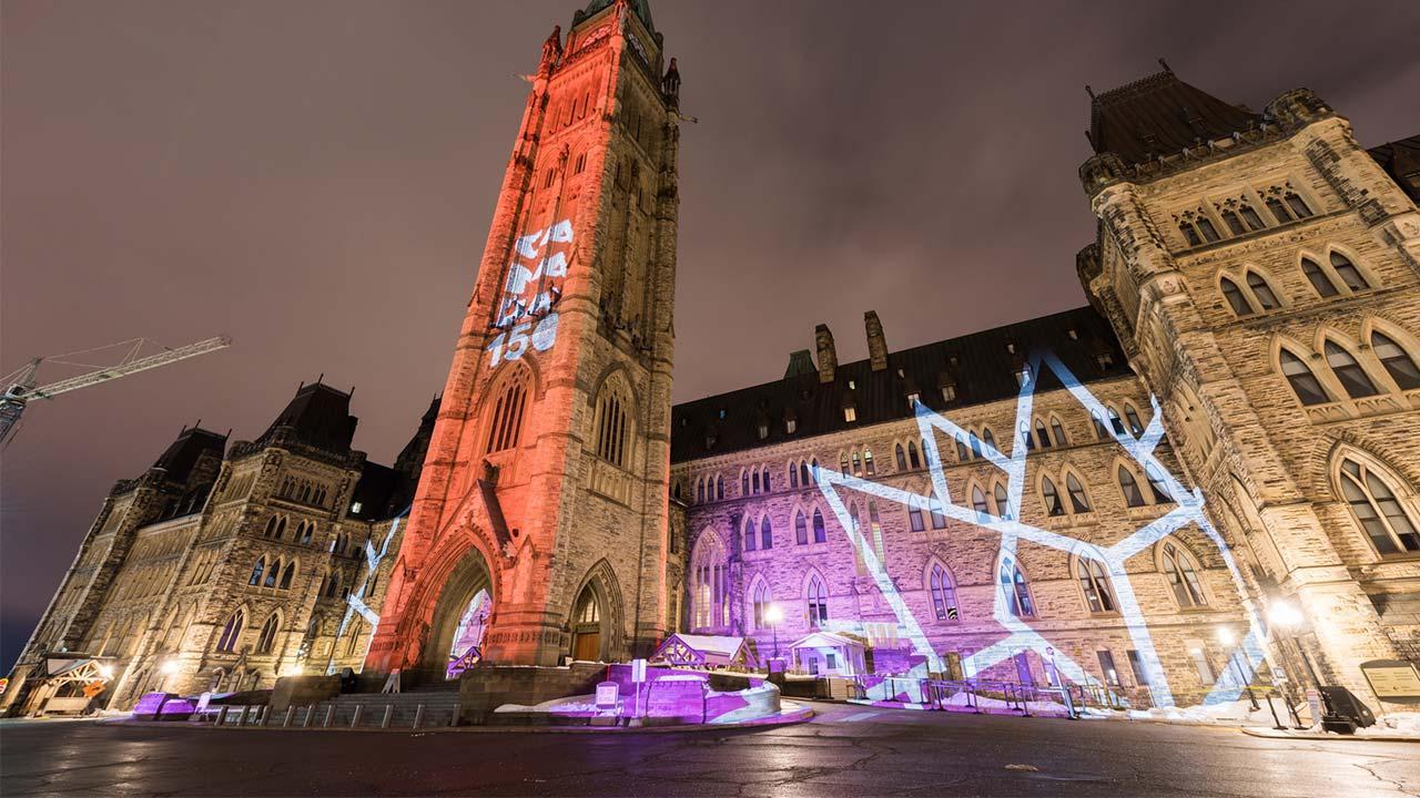 Weihnachtsaussenbeleuchtung - Projektor versus Lichterkette - Projektion in Kanada
