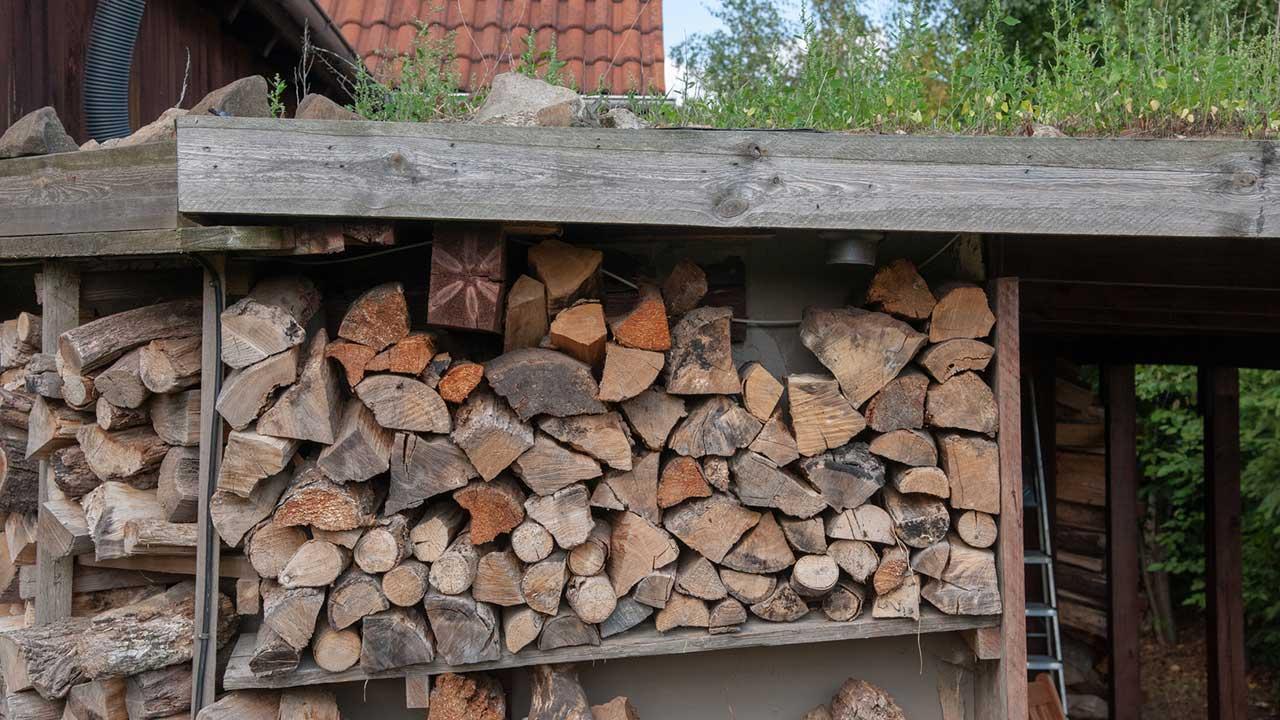 Brennholz einlagern im Winter - Holzstapel