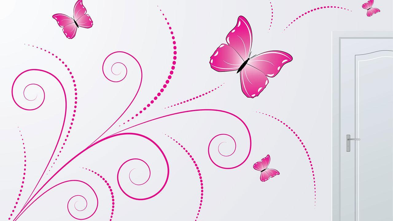 Neuer Trend für Zuhause - Wandtattoos ? - rosa Schmetterling
