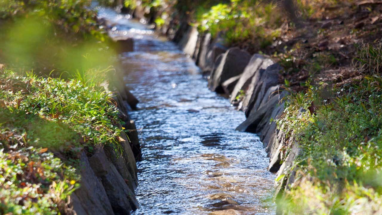 Fließende Gewässer im eigenen Garten / kleiner Bach