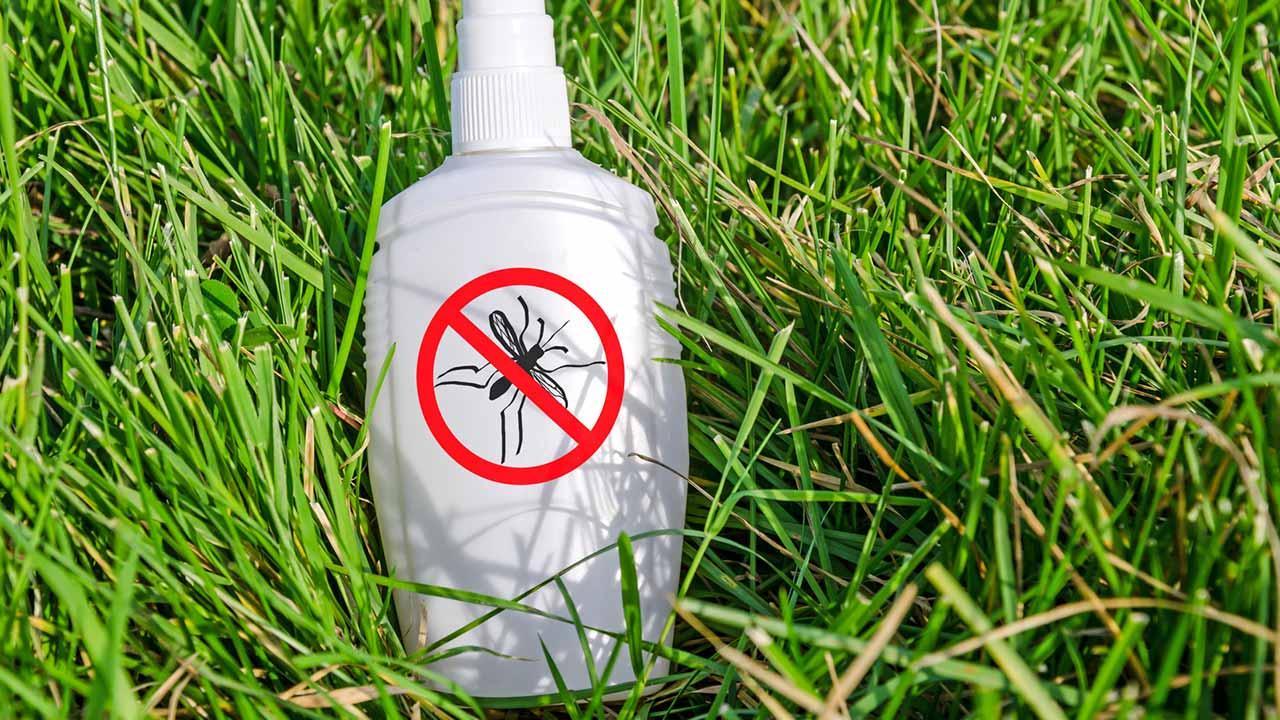Stechmücken Schutz für Ihr Zuhause / Anti-Mücken Spray liegt im Gras