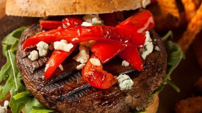 Portobello-Burger Rezepte / ein Portobello-Burger