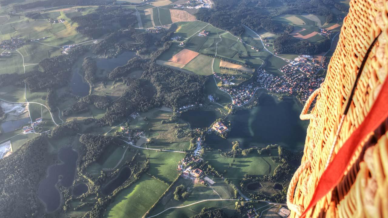 Die schönsten Ballonfahrten in Bayern - Blick aus dem Korb