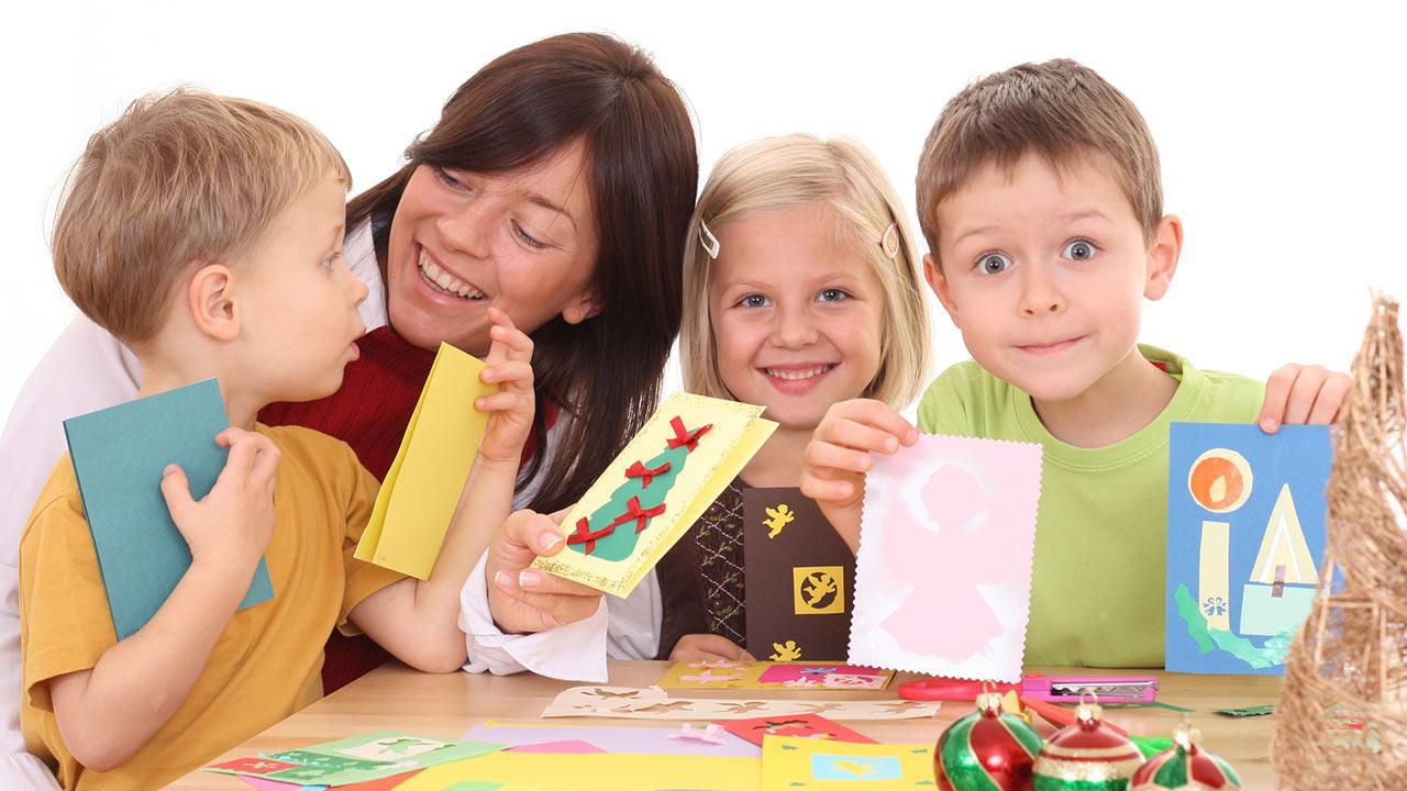 Basteln mit Kindern für Weihnachten / Kinder basteln Weihnachtskarten